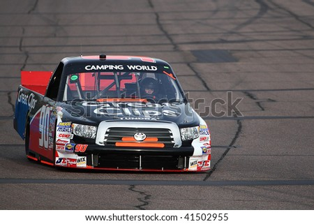 AVONDALE, AZ - NOV. 12: Brad Sweet (90) gets in laps during Thursdays practice session for the NASCAR Camping World Truck Series race at Phoenix International Raceway on Nov. 12, 2009 in Avondale, AZ.