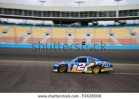 AVONDALE, AZ - OCT 4: Brad Keselowski (2) takes laps during a NASCAR Sprint Cup track testing session on Oct. 4, 2011 at Phoenix International Raceway in Avondale, AZ. - stock photo