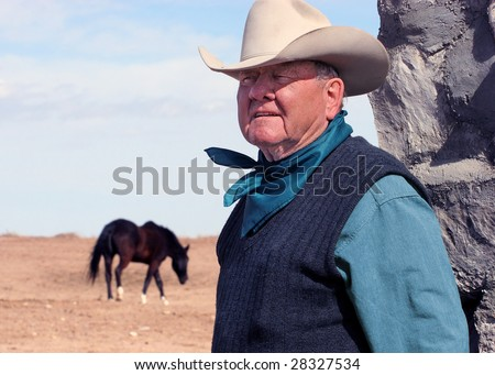 Avondale, CO - March 13: Pro Rodeo Hall of Fame member Harry Vold, pictured on his ranch near Avondale, CO on March 13, 2005, has won 11 PRCA Stock Contractor of the Year awards and is a legend in the sport. - stock photo
