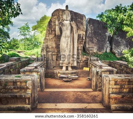 Avukana Buddha Statue near Kekirawa, Sri Lanka - stock photo