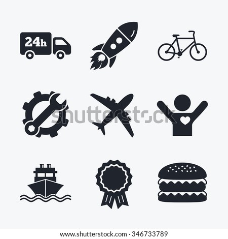 Award achievement, spanner and cog, startup rocket and burger. Cargo truck and shipping icons. Shipping and eco bicycle delivery signs. Transport symbols. 24h service. Flat icons. - stock photo