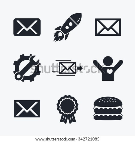 Award achievement, spanner and cog, startup rocket and burger. Mail envelope icons. Message delivery symbol. Post office letter signs. Flat icons. - stock photo