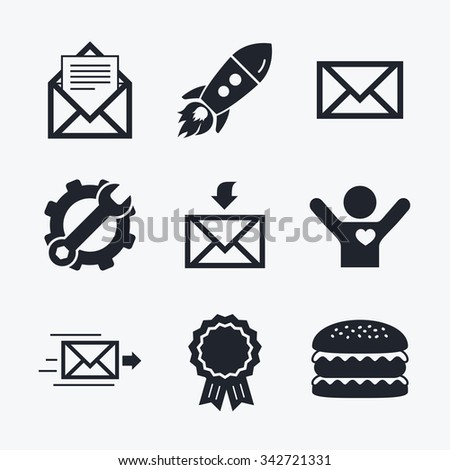 Award achievement, spanner and cog, startup rocket and burger. Mail envelope icons. Message document delivery symbol. Post office letter signs. Inbox and outbox message icons. Flat icons. - stock photo