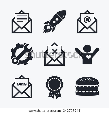 Award achievement, spanner and cog, startup rocket and burger. Mail envelope icons. Message document symbols. Post office letter signs. Delete mail and SMS message. Flat icons. - stock photo