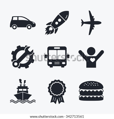 Award achievement, spanner and cog, startup rocket and burger. Transport icons. Car, Airplane, Public bus and Ship signs. Shipping delivery symbol. Air mail delivery sign. Flat icons. - stock photo