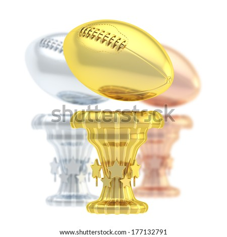 Award american football or rugby sport trophy composition of golden, silver and bronze cups isolated over white background - stock photo