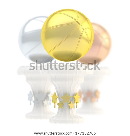 Award basketball sport trophy composition of golden, silver and bronze cups isolated over white background - stock photo