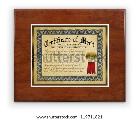 Award certificate laminated on wood hanging on a white wall, isolated with a clipping path - stock photo