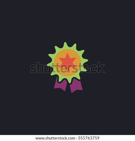 Award. Color flat icon on black background - stock photo