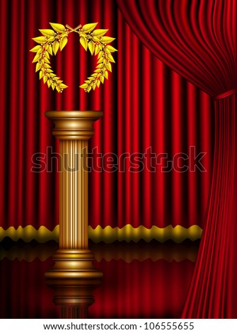Award column with golden winner laurel wreath on theater stage with velvet curtain. Raster illustration. Vector file included in portfolio