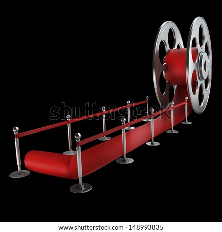 Award concept. Cinema film roll and red carpet isolated on black. 3d illustration. high resolution  - stock photo