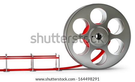 Award concept. Cinema film roll and red carpet isolated on white background High resolution 3d  - stock photo