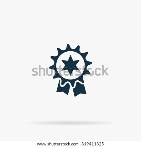 Award. Flat web icon or sign on grey background with shadow. Collection modern trend concept design style illustration symbol - stock photo