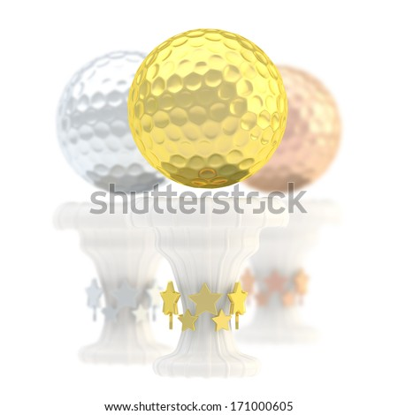 Award golf ball sport trophy composition of golden, silver and bronze cups isolated over white background - stock photo