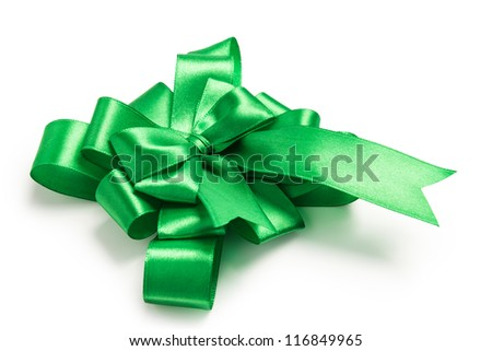 award green bow made of ribbon isolated on white