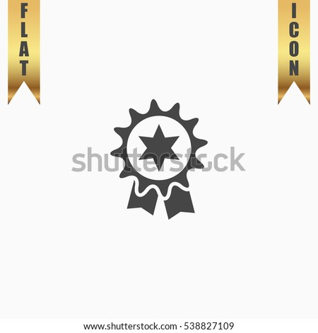 Award Icon Illustration. Flat simple icon on light background with gold ribbons