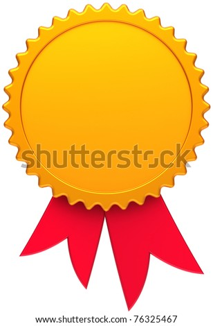 Award medal golden with red ribbon. Blank round copy-space design element. This is a high quality three-dimensional render 3d. Isolated on white background - stock photo
