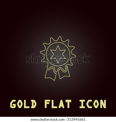 Award. Outline gold flat pictogram on dark background with simple text. Illustration trend icon - stock photo