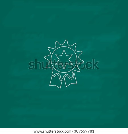 Award. Outline icon. Imitation draw with white chalk on green chalkboard. Flat Pictogram and School board background. Illustration symbol - stock photo