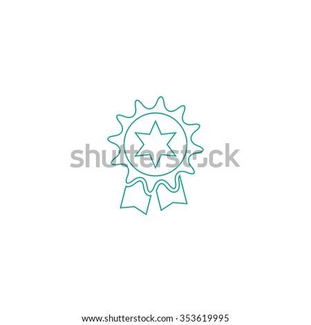 Award. Outline symbol on white background. Simple line icon - stock photo