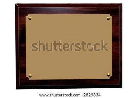 Award Plaque.  Blank for copy space. - stock photo