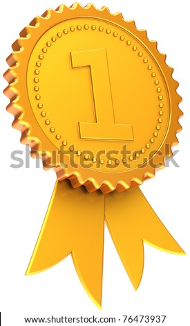 Award ribbon first place golden. Number one champion badge. Winner design element template classic. This is a CG high quality three-dimensional 3d render. Isolated on white background