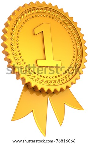 Award ribbon golden first place winner. Number one medal champion success icon. Leadership pride design element. This is a high quality CG three-dimensional 3d render. Isolated on white background - stock photo
