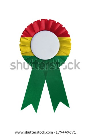 Award ribbon isolated on a white background, Bolivia