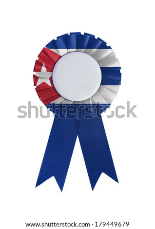 Award ribbon isolated on a white background, Cuba