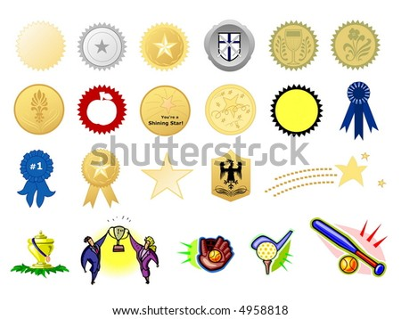 Award seals, isolated against white background - stock photo