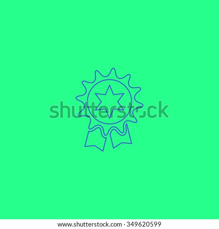 Award. Simple outline illustration icon on green background - stock photo