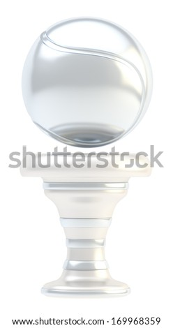 Award tennis ball sport silver trophy cup isolated over white background - stock photo