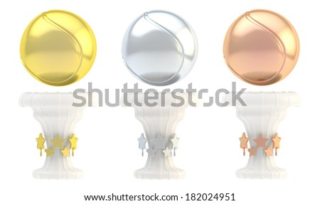 Award tennis ball sport trophy set of golden, silver and bronze cups isolated over white background - stock photo