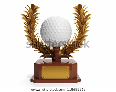 Award to the best player in golf. Golf ball in the form of cups, prizes - stock photo