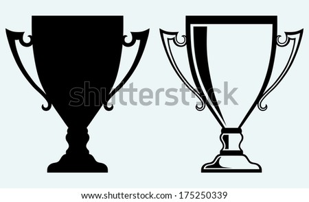 Award trophies. Image isolated on blue background. Raster version - stock photo