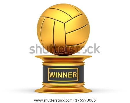 Award volleyball sport trophy cup isolated on a white background - stock photo