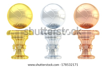 Award volleyball sport trophy set of golden, silver and bronze cups isolated over white background - stock photo