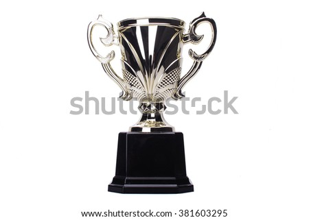 award winning trophy isolated in white background - stock photo