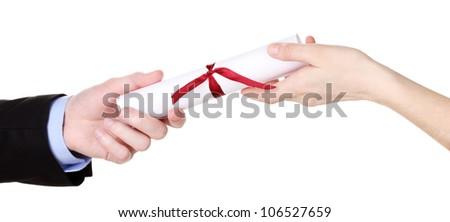 Awarding diploma isolated on white - stock photo