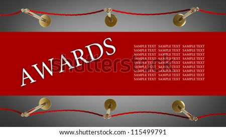 AWARDS. Barrier rope and red carpet High resolution 3D - stock photo