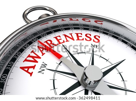 Awareness word on conceptual compass, isolated on white background