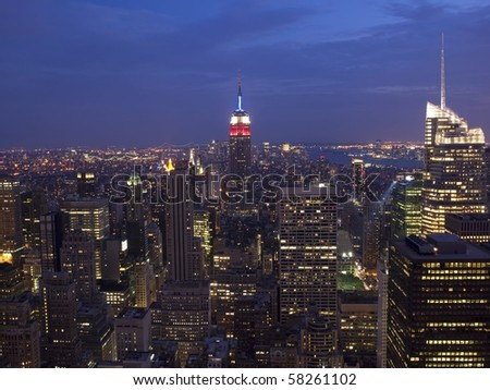 Awe inspiring skyline of midtown Manhattan including the Empire State Building