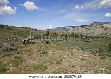 awesome campsite - stock photo