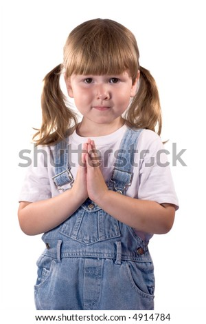 Awesome casual little girl with ponytails praying for... isolated on white - stock photo