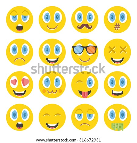 Awesome emoticons set. Creative graphic design illustrations. Isolated on white background - stock photo