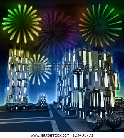 Awesome firework show at night over cityscape illustration - stock photo