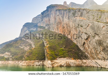 Awesome Mountain Rock Formation by the Yangtze River - Wu Gorge, Badong, China - stock photo