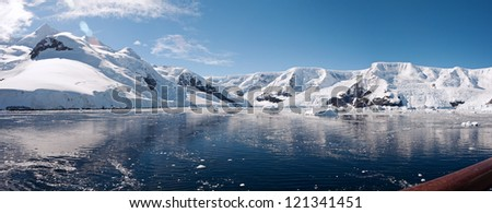Awesome panorama in Antarctica, Paradise bay - stock photo