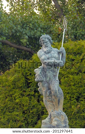 Awesome Poseidon Statue with trident also known as Neptune - stock photo