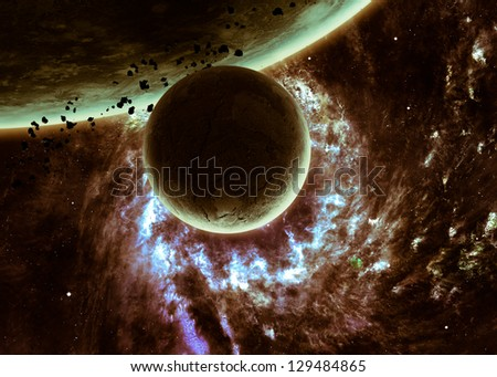 Awesome space background with the explosion of star. Elements of this image furnished by NASA - stock photo